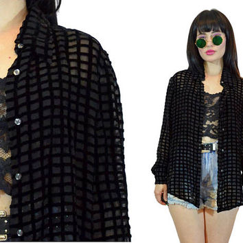 vintage 90s black SILK velvet burnout shirt sheer square black soft grunge duster jacket slouchy top blouse witchy minimalist gothic small