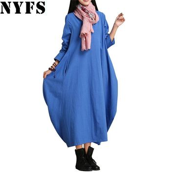 Spring Vintage Cotton Linen Women Dress large size Loose Casual Long Dress Vestidos Robe Dresses(No neckerchief)
