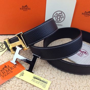 %%New Authentic Hermes men's belt 38mm black Double Buckle 2H Gold&Silver 110cm