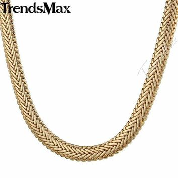 Trendsmax Womens Men's Necklace Yellow Rose Gold Snake Herringbone Foxtail Chain Necklace For Woman Male Jewelry Gift 9mm KGN427 Macchar Cosplay Catalogue