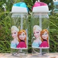 400 ML Princess Elsa Anna Toy Water Drinking Bottles children cartoon plastic Figure Toys For Girls Gifts