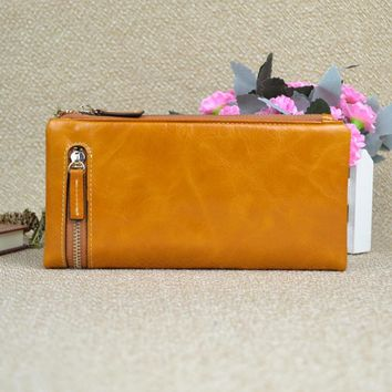 Free shipping, First Layer Natural Oil Wax Leather Genuine Leather Women Wallet Purse Money Holder