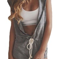 Halife Women's Sleeveless V-neck Zip up Club Jumpsuit Romper with Hoodie Gray