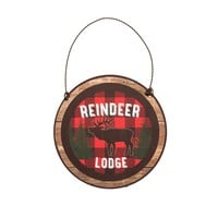 REINDEER LODGE WITH BORDER ORNAMENT
