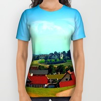 Peaceful farmland on a sunny afternoon All Over Print Shirt by Patrick Jobst
