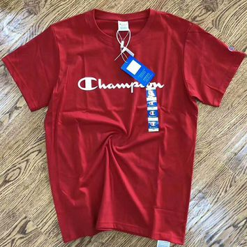 Champion 2018 New Men's and Women's Fashion Trendy T-shirts F-AA-SYSY red