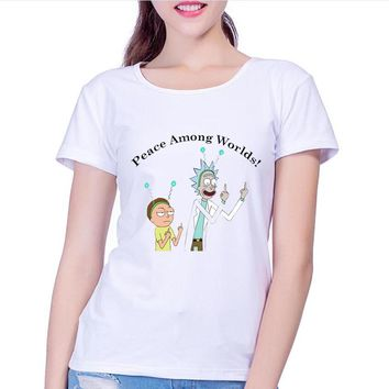 Newest 2017 Women's Creative Design Cartoon T-Shirt Summer Fashion Rick Morty Printed T Shirt High Quality girl Hipster Tops Tee