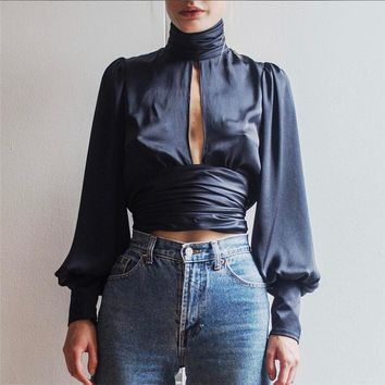 Sexy Backless Tutleneck tiered Ladies Long Sleeve blouse Hollow Out Women tops and blouses sheer top kimonos mujer 2018
