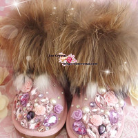 PROMOTION WINTER Pink Sheepskin Fleech/Wool Boots with shinning and stylish Rhinestones / Big Stones
