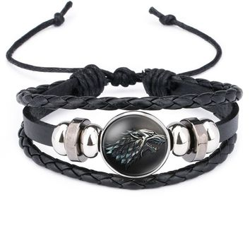 NingXiang Game of Thrones House Stark Wolf Glass Cabochon Leather Bracelets Multi Layers Weave Handmade Punk Black Men Bracelets