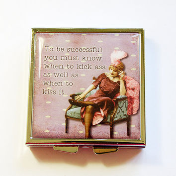 Funny Pill Case, Square Pill case, pill case, sassy women, Funny Pill Box, 4 Sections, Square Pill box, Kick ass, Kiss Ass (4343)