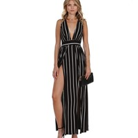 Promo- Black To The Extreme Striped Maxi Dress
