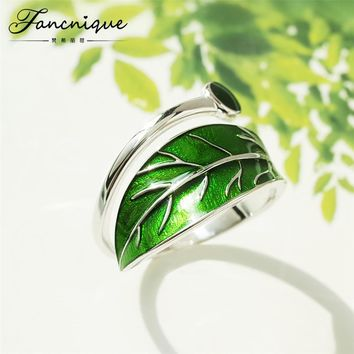 Enamel Green Chunky Leaf  925 Sterling Silver Rings