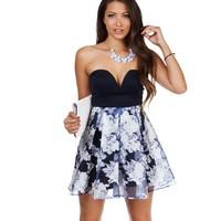 Navy Floral Eternity Skater Dress