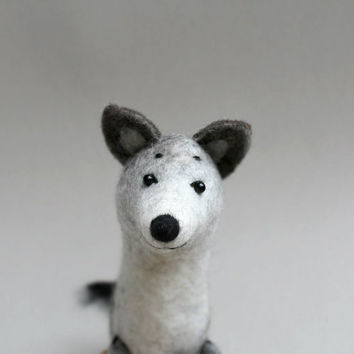 Ralph - Felt  Wolf, Art Marionette, Puppet Handmade Felt Animal Stuffed Felted Toy. gray silver black blue  woodland. MADE TO ORDER.