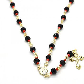 Gold Layered 09.63.0109.1.18 Medium Rosary, Guadalupe and Crucifix Design, with Black and Orange Red Azavache, Polished Finish, Golden Tone
