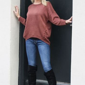 Do It Right Oversized Sweater: Rust