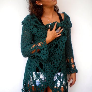 Green  Sunflower Shrug   Bicolor Vest Woman Hand Crocheted Circle shrugNEW
