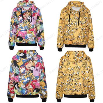 Adventure Time Skateboarding Hoodies Yellow Jake The Dog Sweatshirts Hooded Women Autumn Tracksuits Sportswear Long Sleeves