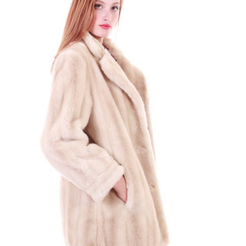 80s Vintage Ivory Faux Fur Coat Vegan Mink Glamorous Retro Chic Winter Jacket Union Made Clothing Womens Size Large XL