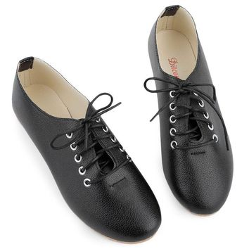 Aristocratic style Spring Leather Women Lace-up Pointed Toe Casual Flat Shoes Little B