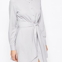 Boohoo Tie Waist Shirt Dress