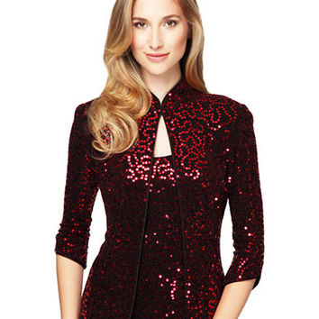 Alex Evenings Plus Sequined Mandarin Jacket and Tank Set