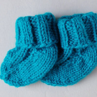 Hand Knit Baby Socks, Newborn 0 to 3 Months, Baby Boy Baby Girl, Aqua Blue Socks, Warm Winter Clothing, Ready To Ship, Baby Shower Gift