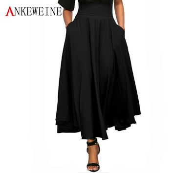 2018 Women Long Skirt Fashion Floor-Length Cotton Maxi Skirt Feminine Evening Party Elastic High Waist Pleated Skirts