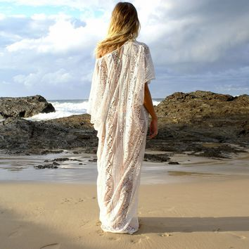 Summer Beach Bathing Suit Lace Cover Ups Women Off One Shoulder Hollow Out Double Side Split Maxi Dresses Loose Bikini Cover-ups