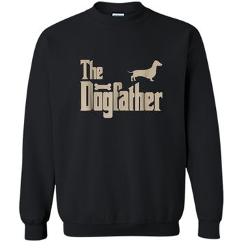 """Mens Dachshund Dog Lovers Gifts """"The Dogfather"""" Men Tee  Printed Crewneck Pullover Sweatshirt"""