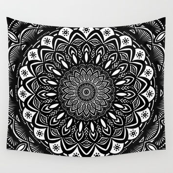 Bold Mandala Black and White Simple Minimal Minimalistic Art Print by AEJ Design