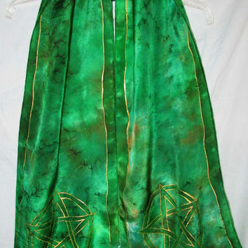 silk scarf, The Pentacle scarf, green scarf, wiccan, pagan, spiritual, magic,