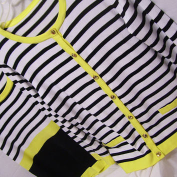 Sweater Set, Cardigan and Shell, Black White Yellow Stripped, Size XL, Cable and Gauge, Fine Knit, Summer, Resort Cruise, Office, Church