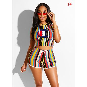 Champion Summer New Fashion Letter Print Stripe Sports Leisure Hooded Vest Top And Shorts Two Piece Suit Women 1#