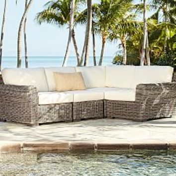 Torrey All-Weather Wicker Square Arm Sofa - Natural