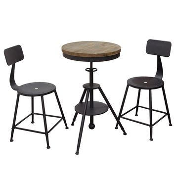 Douglas 3PC Set Vintage Adjustable Height Bistro Table with Weathered Grey Top and Powder Coat Iron Base with 2-Pack Black Stools