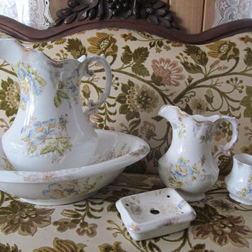5 Pc Antique Ironstone Pitcher and Bowl Set Large Ewer Victorian Antique Bathroom Decor Bedroom Decor Antique Farmhouse Guest room Decor