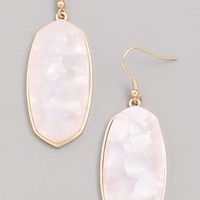 Stained Acrylic Dangle Earrings - White