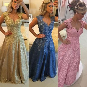 Prom Dresses 2017 Gold Appliques Pearls Lace Elegant Sleeveless Pink Blue Evening Gowns Unique Long For Party Dress