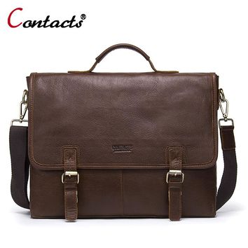 CONTACT'S Men Bag Briefcase Business Office Bags Genuine Leather Shoulder Handbags Male Men Messenger Bag Handbag Designer Brand
