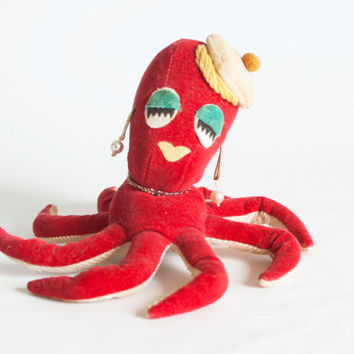 Vintage Dream Pets Lady Octopus, Poseable Red Velvet Octopus with Earrings and Beret, Kitschy 1960s Sawdust Toy, Made in Japan