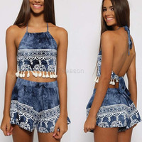 Women Fashion Sexy Two Pieces Halter Sleeveless Backless Fringe Short Crop Tops and Elastic Waist Print Shorts Set 7_S SV024113 = 1917131332