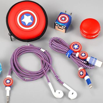 The Avengers Cartoon USB Cable Earphone Protector Set With Earphone Box Cable Winder Stickers Spiral Cord Protector