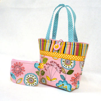 Pink Floral Fabric Little Girls Purse Coin Purse Set Mini Tote Bag Childs Purse Kids Bag Michael Miller Turquoise Orange MTO