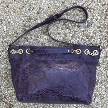 MICHAEL KORS PURPLE SNAKESKIN SHOULDER BAG GOLD CHAIN