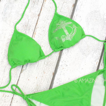 SZ LARGE Kelly Green Falls Anchor Bikini Set
