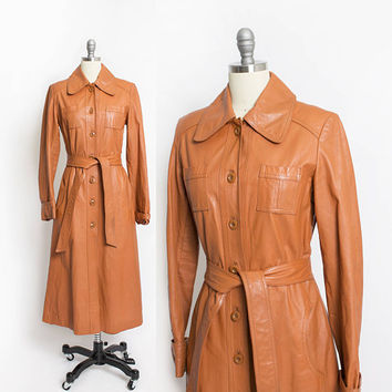 Vintage 1970s Leather Jacket - Brown Long Trench Coat 70s - Small