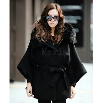 Women's Faux Fur Collar Hooded Double Breasted Batwing Cape Poncho Coat/Jacket = 1932977796