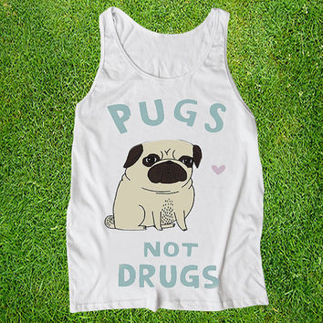 pugs not drugs Casual Wear Sporty Cool Tank top Funny Tank Cute Direct to garment
